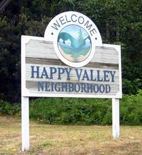 Happy Valley Neighborhood sign